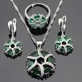 Criado verde Esmeralda Branco CZ Conjuntos de Jóias Para As Mulheres Colar de Pingente de Cor Prata Brincos Anéis Caixa de Presente Livre