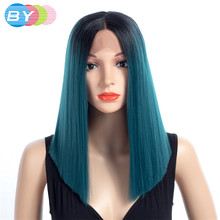 BY Ombre Blue/Blonde/Grey Short Straight Heat Resistant Synthetic Hair Wig For Black/White Women Cosplay Or Party Bob Wigs(China)