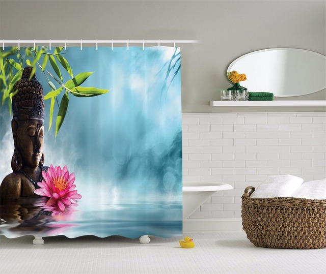 High Quality Arts Shower Curtains Buddha Pink Lotus Waves Reflection Bamboo Bathroom Decorative Modern Waterproof Curtain