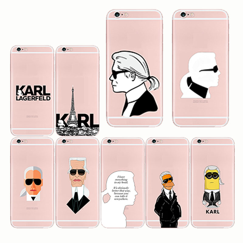 Fashion Karl Lagerfeld Green Soft Silicon TPU Case Cover for iPhone 6 6S 7 8 Plus