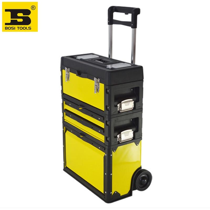 Cassetta portautensili trolley 3 in 1 BOSI in lamiera d'acciaio laminata a freddo + ABS