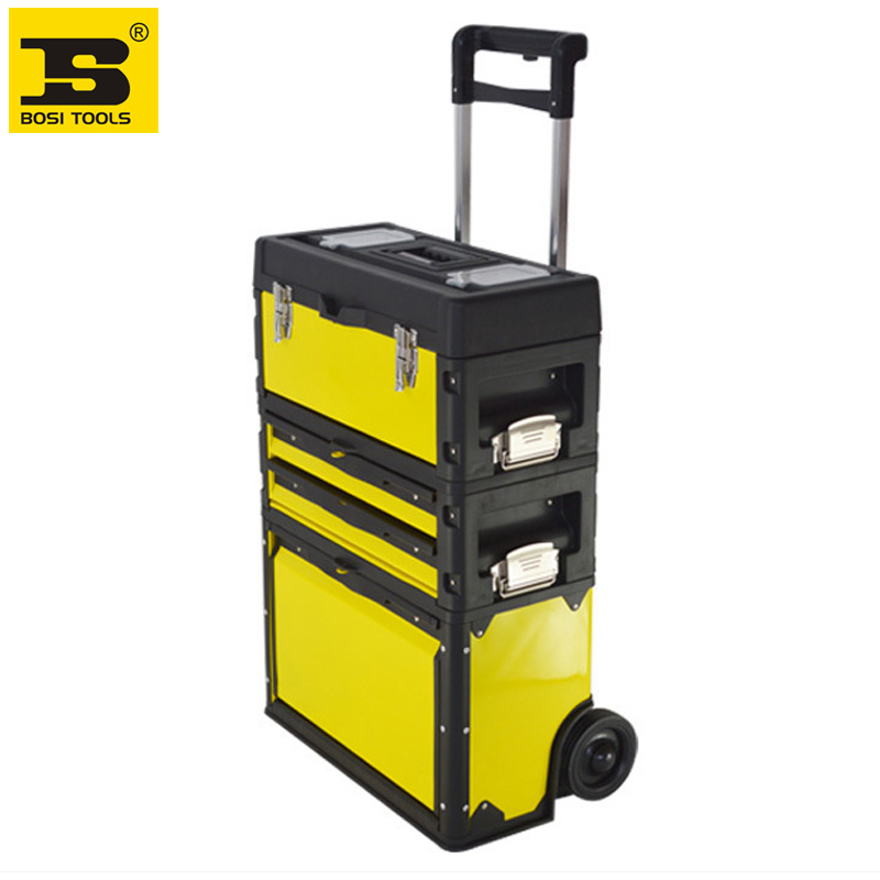 Free Shipping 3 In 1 Trolley Tools Box Made Of Cold-roll Steel Sheets+ABS