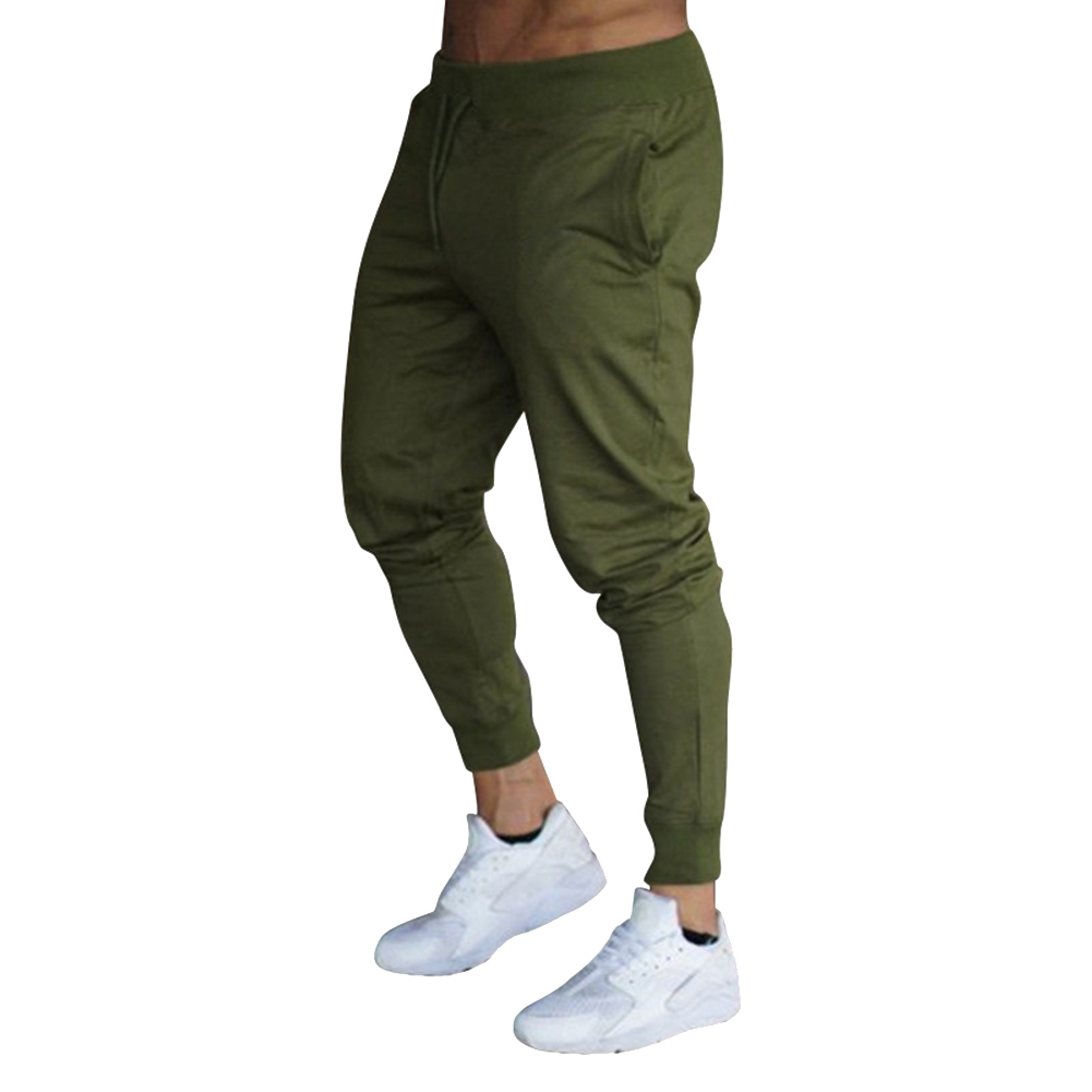 Hot Men Slim Fit Solid Color Pants Trousers Drawstring Casual For Jogging Sport SMA66