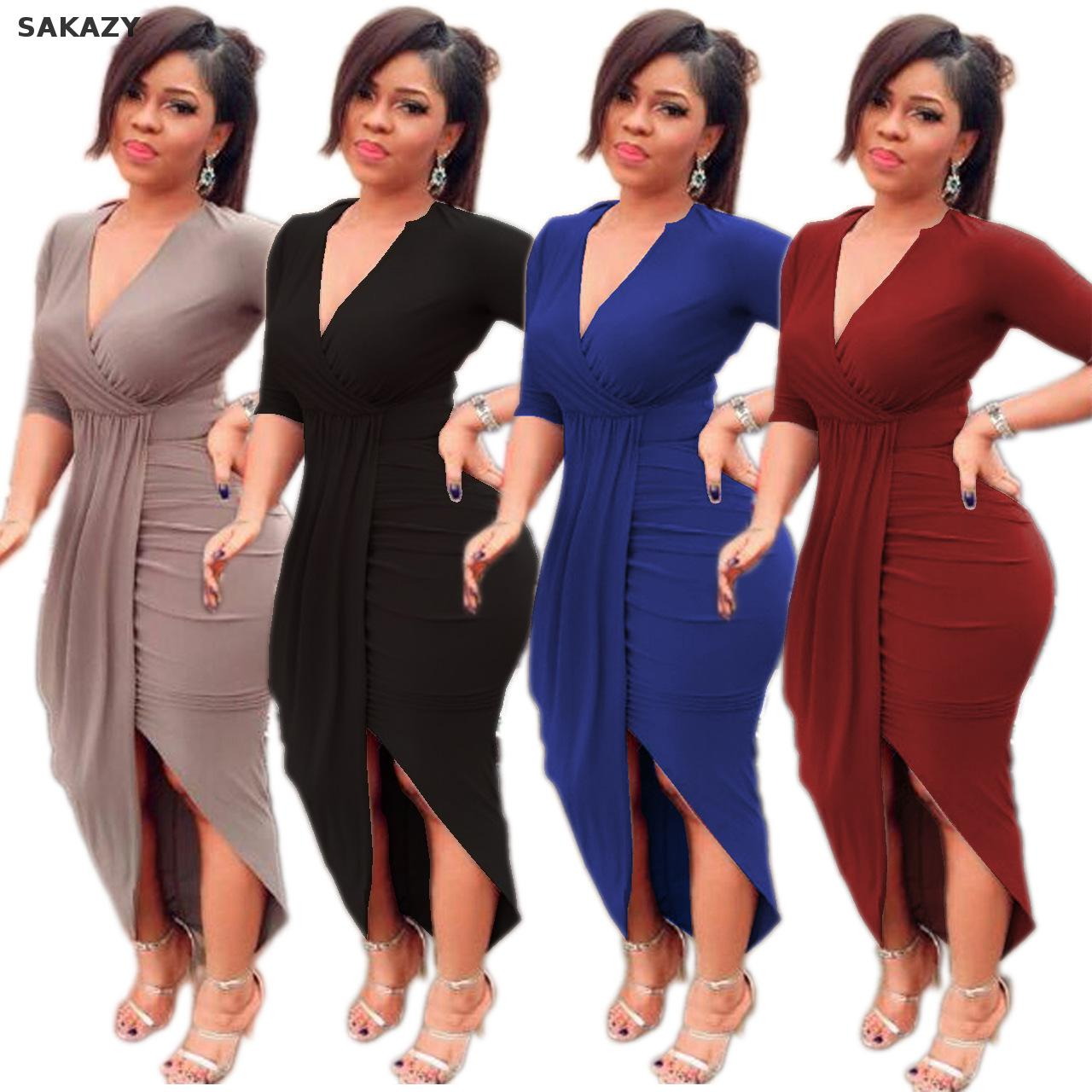 Detail Feedback Questions about Sakazy Woman Plus Size Dress Half Sleeve  Bodycon Dress New Autumn Elegant Casual Fat Mm Big Size Women Dresses J09  on ... 9e003026524e