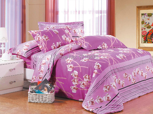 High Quality Spring Design Home Bedding Warm Soft Fadeless Hot Pink Flower Custom  Printed Bed Sheet