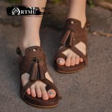 Artmu Original Genuine Leather Women Sandals Tassels Leisure Handmade Comfortable Simple Casusl  Roman Beach