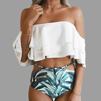 2017 Summer Newset Strapless Crop Top Sexy Bikinis Set Off Shoulder Lotus Leaf Women Swimwear Swimsuit