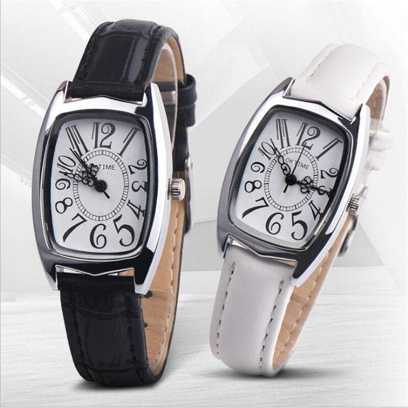 Fashion Women Watches Quartz Analog Unisex Clock Roman Digital Square Watch Boys Girls Leather Belt Watch