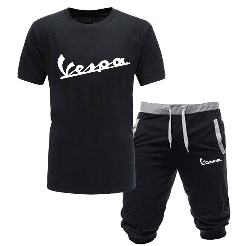 2019 Brand t shirt Men Vespa Fashion Summer cotton short sleeve Sporting Suit T-shirt +shorts Mens 2 Pieces Sets casual clothing