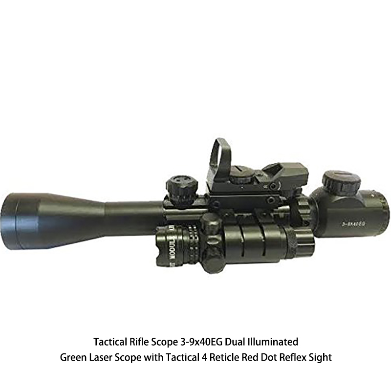 Tactical Rifle Scope 3-9x40EG Dual Illuminated Green Laser Scope with Tactical 4 Reticle Red Dot Reflex Sight very100 new tactical reflex 3 10x 40 red green dot reticle sight rifle scope