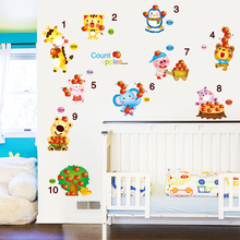 [shijuekongjian] Counting Apples Wall Sticker Environmental PVC DIY Animal Art for Kids Rooms Kindergarten Decoration