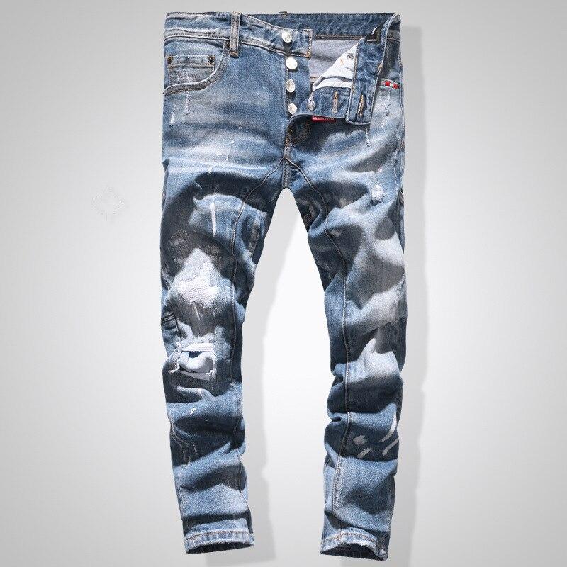 European American Style famous brand Men's slim   jeans   straight zipper   jeans   Pencil Pants black punk style hole   jeans   for men
