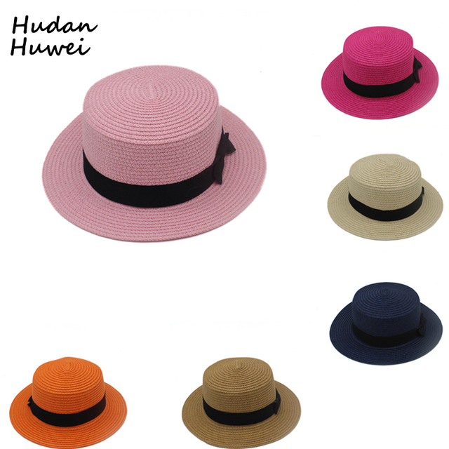 50bb06d087c15 paper straw Hats Fedoras flat top bowler hat chapeau wide brim beach sunhat  black band bowler headgear for Men Women Children