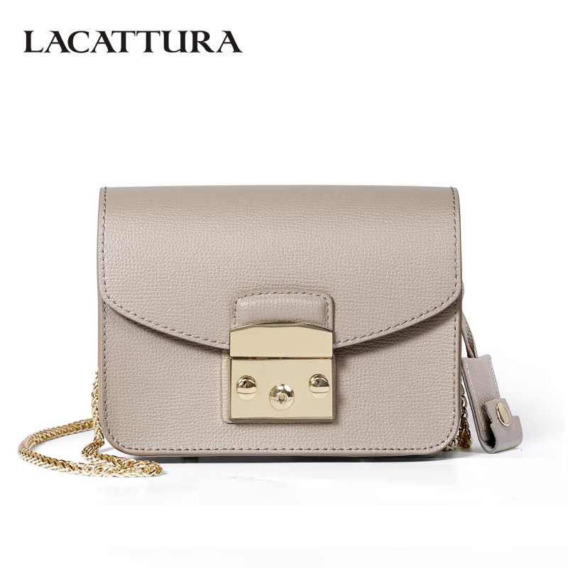LACATTURA Mini Candy Bag Women Messenger Bags Cowhide Leather Brand Handbag Ladies Chain Shoulder Bag Fashion