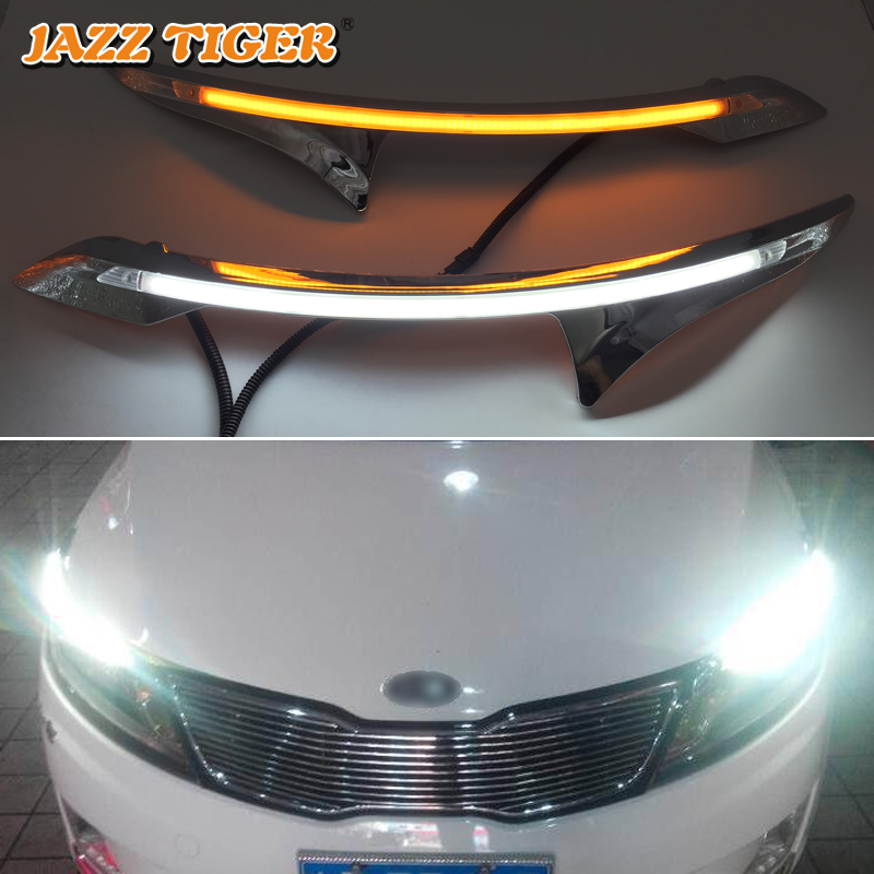 JAZZ TIGER 2PCS Car Headlight Decoration Yellow Turn Signal 12V DRL LED Daytime Running Light For Kia Rio K2 2011 2012 - 2014 12v car dimming style relay drl kit for kia rio k2 led daytime running light auto led fog lamps daylight 2011 2012 2013 2014