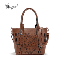 YBYT Brand 2017 New PU Leather Women Hollow Out Handbags Vintage Casual Package High Quality Shoulder