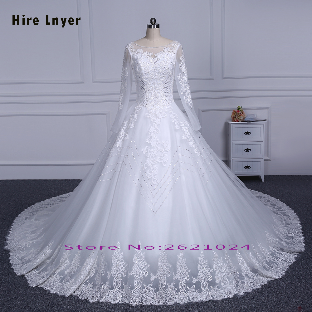 HIRE LNYER 2018 Long Sleeve Lace Up China Bridal Gowns Mariage Full ...