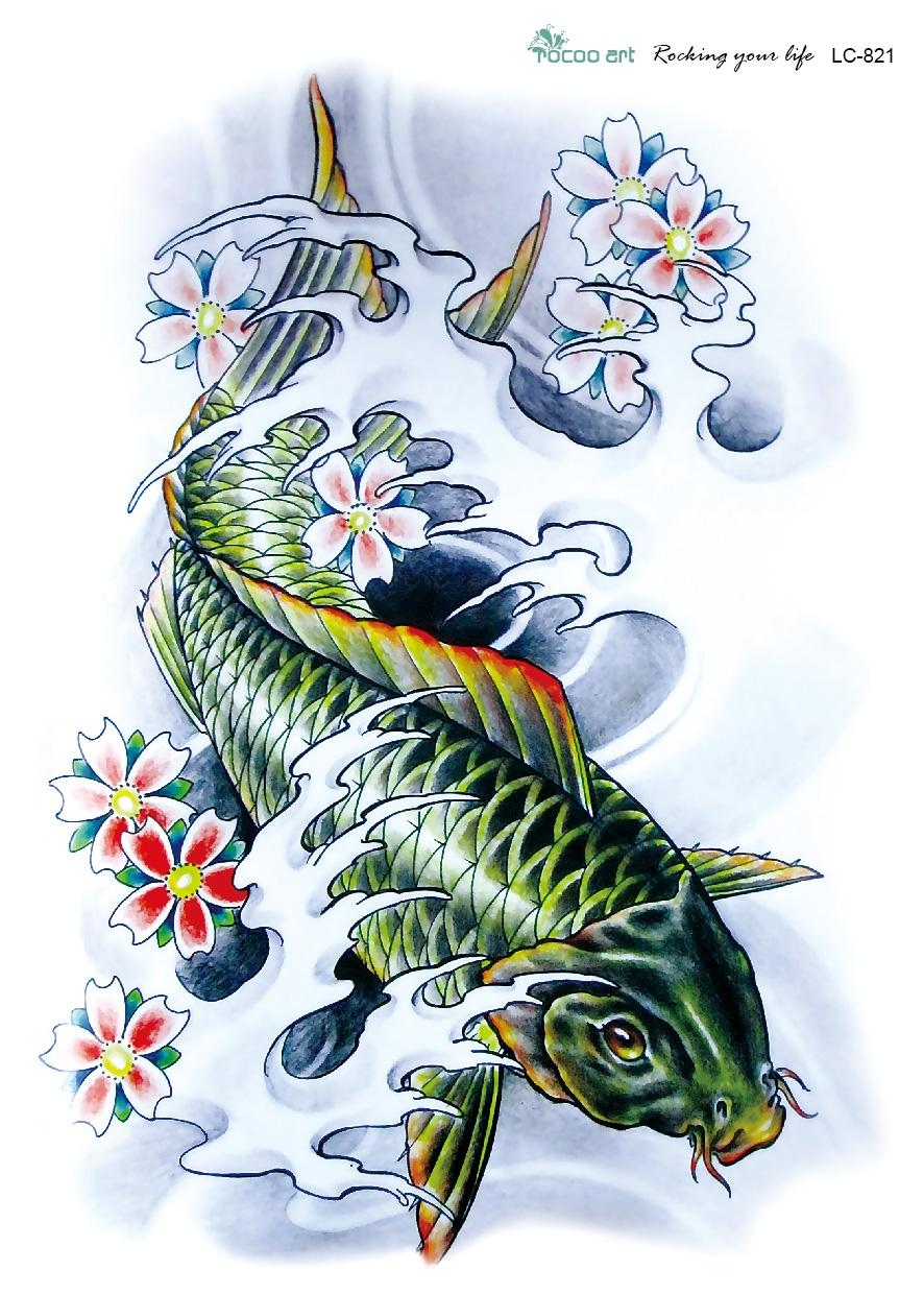 Lc2821 21 15cm 3d Large Big Tatoo Sticker Sketch Green Fish Drawing Designs Cool Temporary
