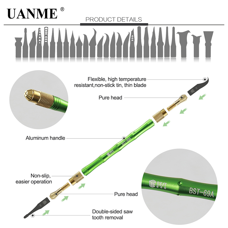 UANME BEST 27in1 BGA Maintenance Knife For iPhone CPU NAND CHIP IC Remove Glue Disassemble Rework Blade security remove cpu double knife for iphone a7 a8 a9 a10 motherboard ic chip disassemble glue flexible thin blade knife