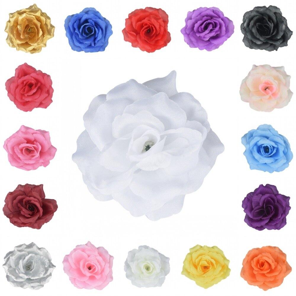 Decoração do Partido Favores do Casamento para Beijar Centímetros Artificial Silk Rose Flor Heads Bola 17 Cores 100pieces 11