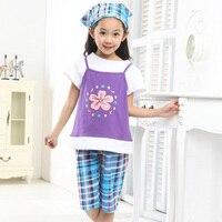 Baby Girl Clothing Set Rustic New 2015 Kids Clothes Short Sleeve T Shirt Pant Turban Plaid