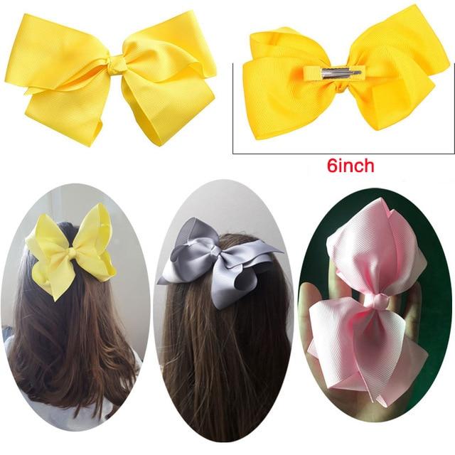 M MISM 6 Inch Kids Big Ribbon Bowknot Hair Clips Children Lovely Barrettes Girls Hairpins Hair Accessories Headwear