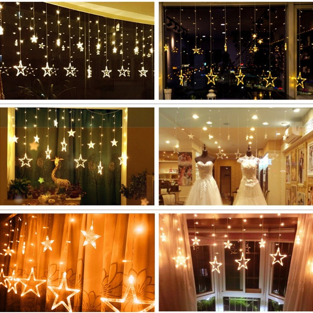 Plug In Star LED Night String Lights Home Holiday Christmas - Curtain lights for bedroom