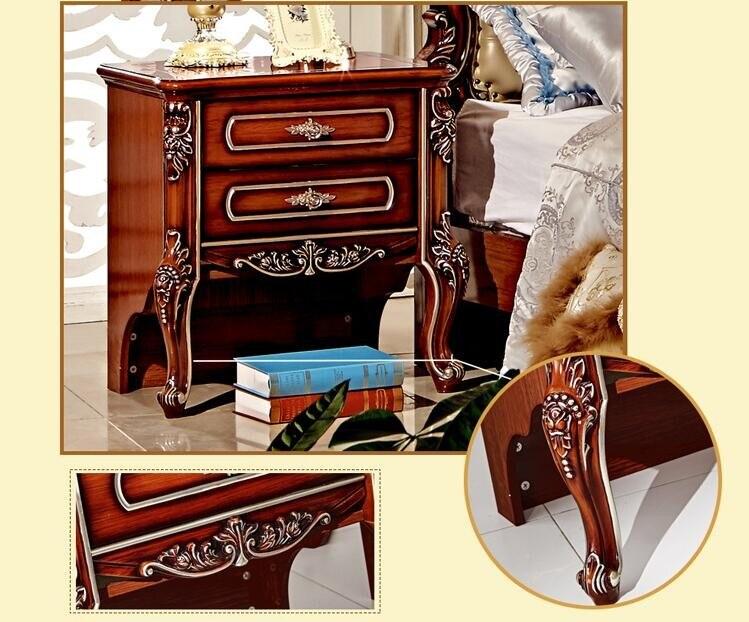 Высококачественная кровать Модная европейская французская Резная Кровать тумбочки pfy4000