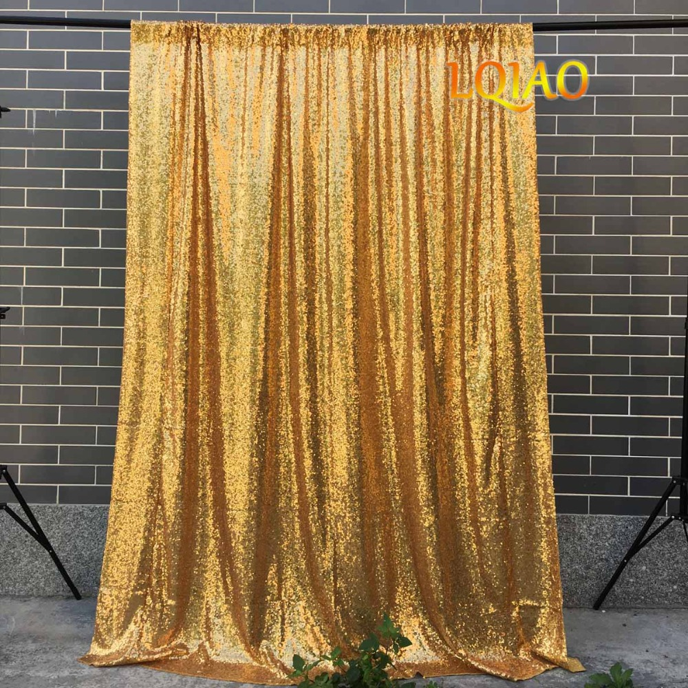 Lqiao Gold Sequin Backdrop Curtain 4x10ft Sparkly Sequin