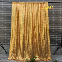 LQIAO Gold Sequin Backdrop Curtain 4x10ft Sparkly Sequin Fabric Photo Booth Backdrop Curtain Wedding Birthday Party Decoration