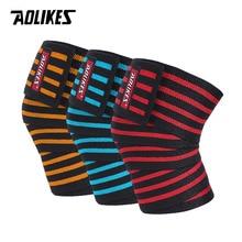 AOLIKES 1PCS 180*8CM Fitness WeightLifting Leg Knee Compression Straps Wraps Elastic Bandages Poverlifting Squats Training