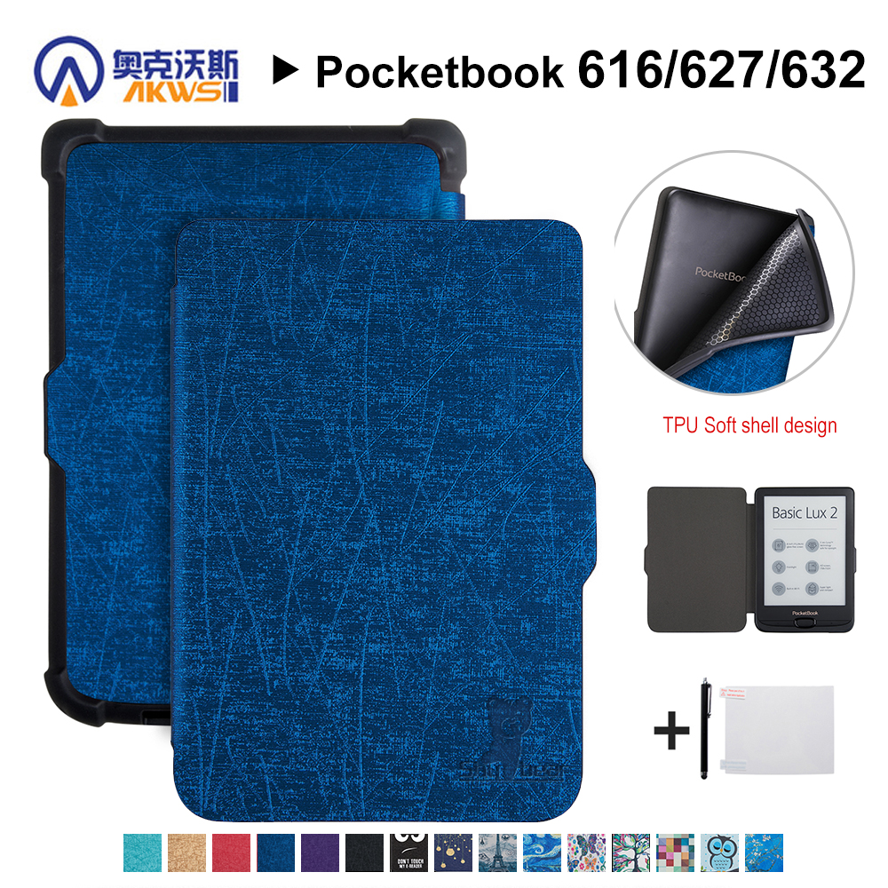 Walkers PU Cover for <font><b>Pocketbook</b></font> <font><b>616</b></font>/627/632 E-book protective cover case for <font><b>Pocketbook</b></font> Basic Lux 2/touch Lux/touch HD 3+gift image