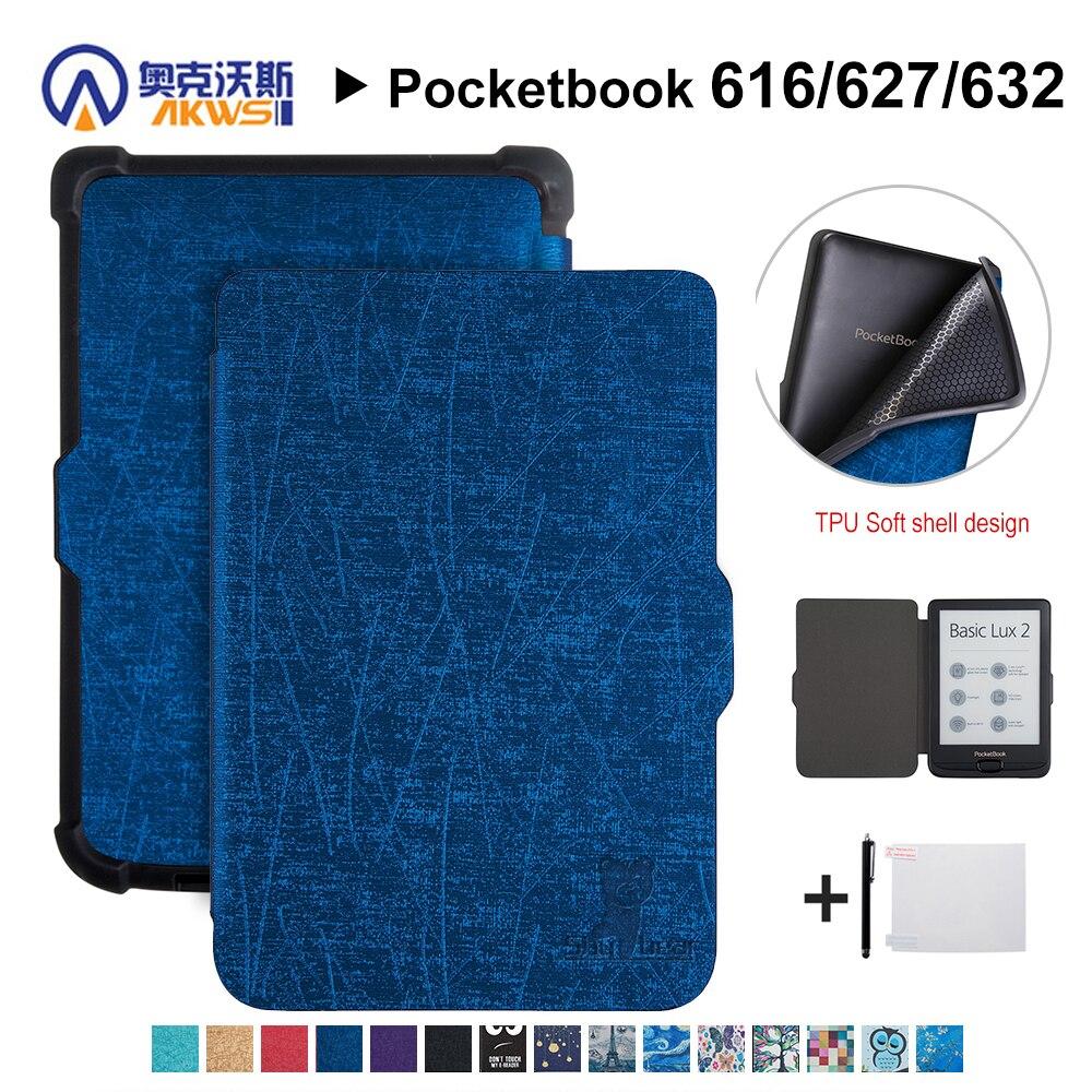 Walkers housse en polyuréthane pour Pocketbook 616/627/632 E-book housse de protection pour Pocketbook Basic Lux 2/touch Lux/touch HD 3 + cadeau