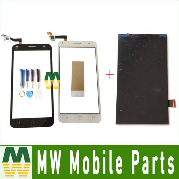 1PC/Lot For Alcatel Touch PIXI 4 5.0 OT 5010 OT5010 5010D Seperate Touch Screen + Lcd Display Black White Color with tools+tape