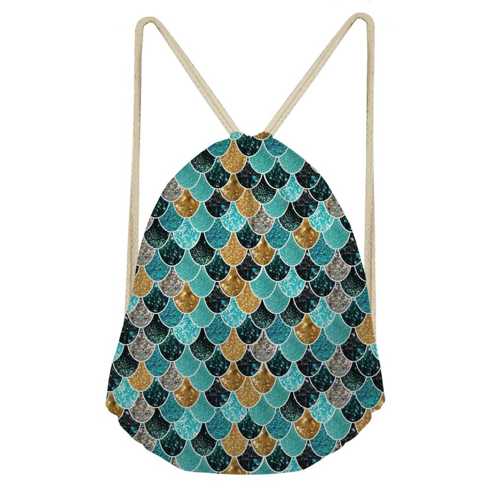 ThiKin 2019 New Fashion Women Backpack 3D Mermaid Scale Print Travel Softback Women Mochila Drawstring Bag