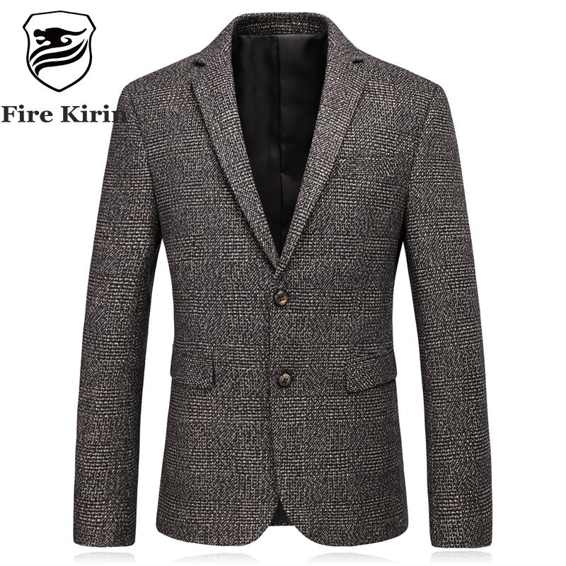 Fire Kirin Slim Fit Wool Blazer Men Casual Suit Jacket