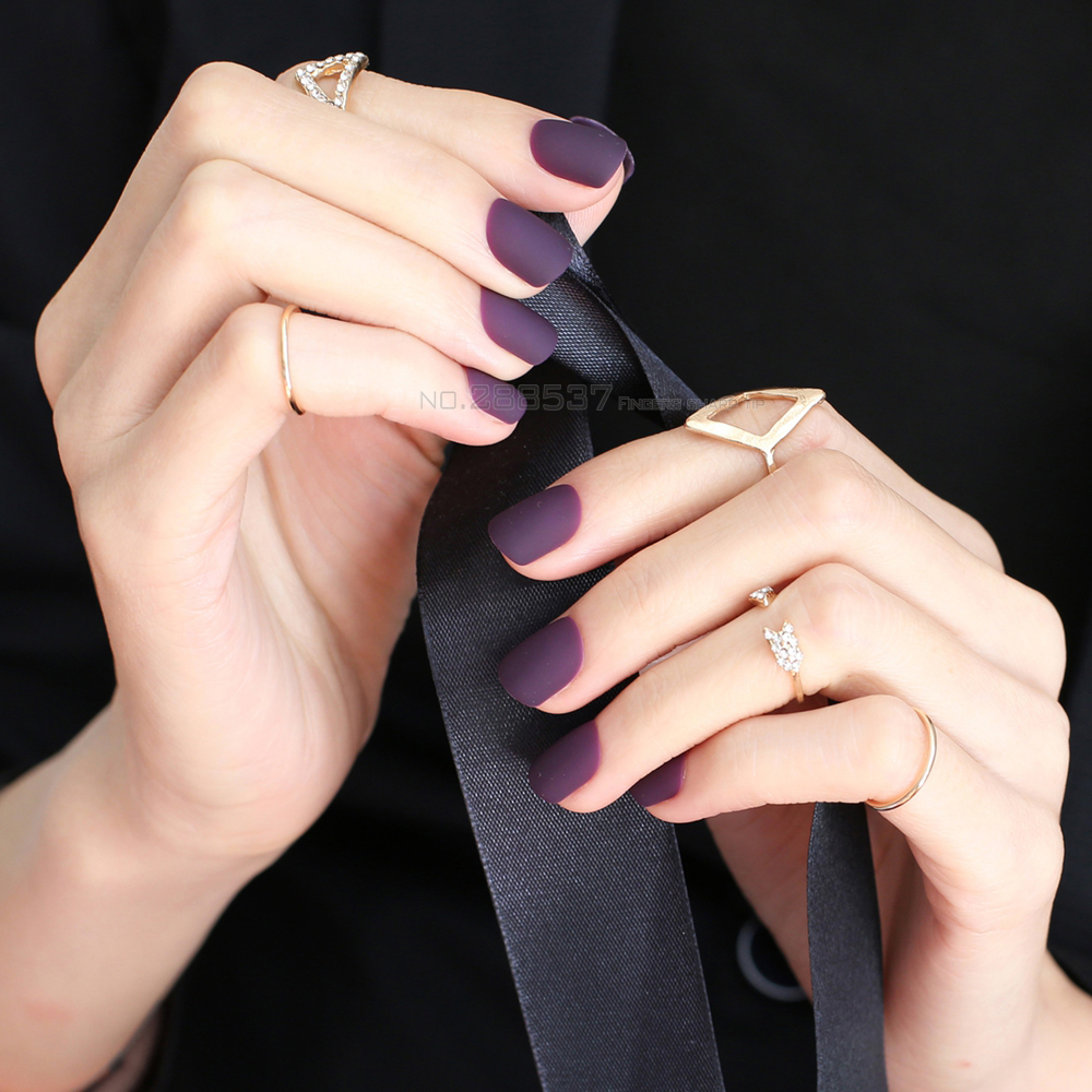 New Matte False Nails Short Square Head Pointed Dark Purple Fake Full Cover Pure Colour Candy 24pcs Sets Beautiful In From Beauty