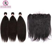 Silk Base Lace Frontal Closure With Bundles Kinky Straight 4Pcs Coarse Yaki Brazilian Human Hair Weave Bundles Rosa Queen Remy