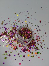 YM-009 Mix Confetti Purple gold red Round Dot Spangle shape glitter Flake cosmetic powder for nail Gel polish-50g/200g/bag