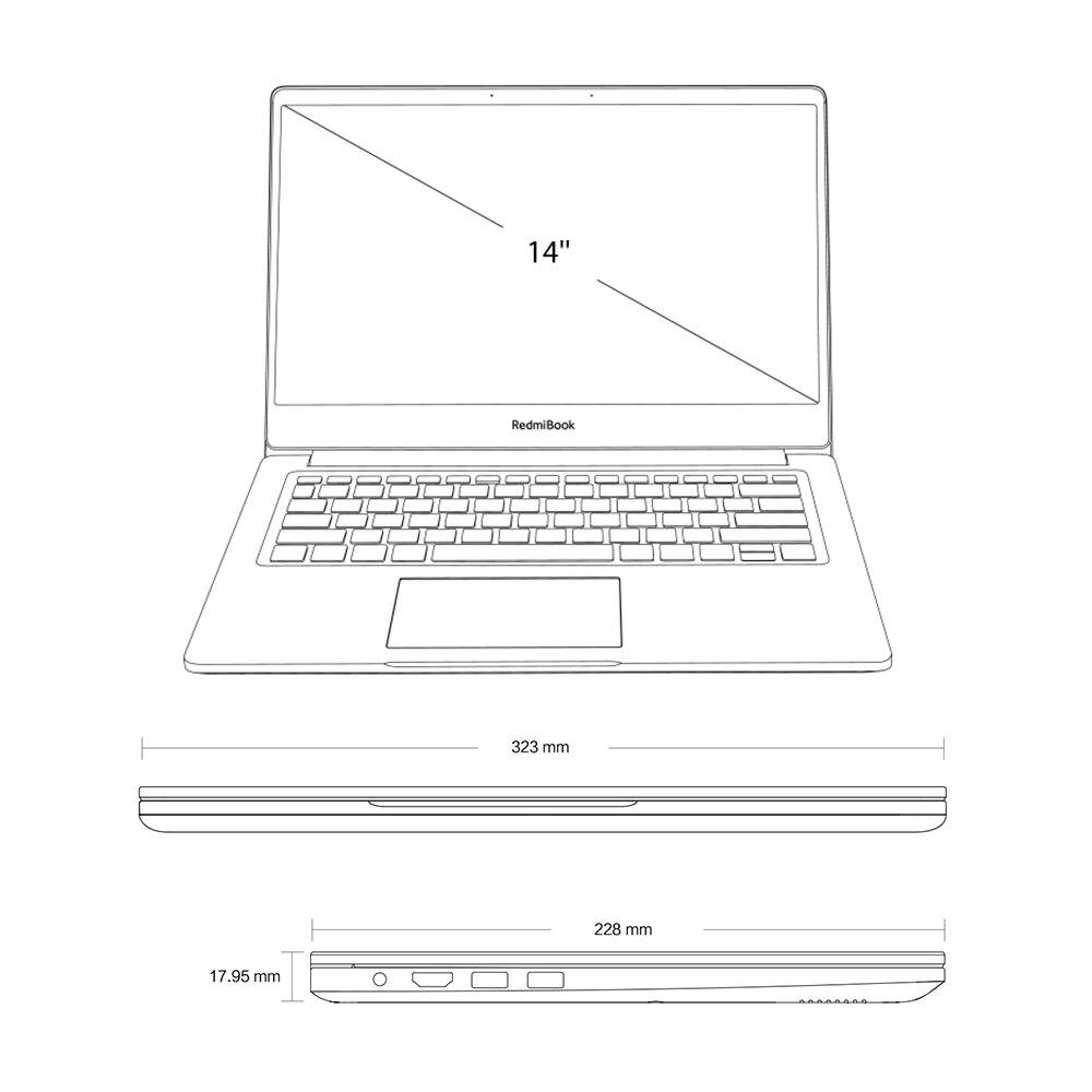 Xiaomi Redmibook 14 ноутбук Intel Core i5 8265u/i7 8565u 8 Гб DDR4 2400 МГц ОЗУ NVIDIA GeForce MX250 - 4