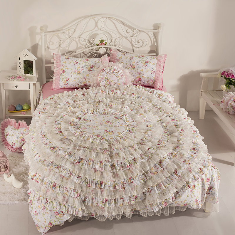 Korean Version Lace Luxury Bed Skirt Sets Bedding Sets One Big Flower Quilt Duvet Cover Sheet Pillowcase Cotton Wedding 7pcs
