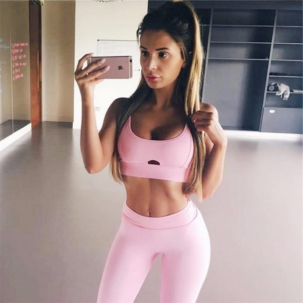 2 PCS Yoga Sportwear Gym Tights Sexy Sports Bra Cross Band Vest Striped Women Pants Sports Leggings High Waist Running Trousers