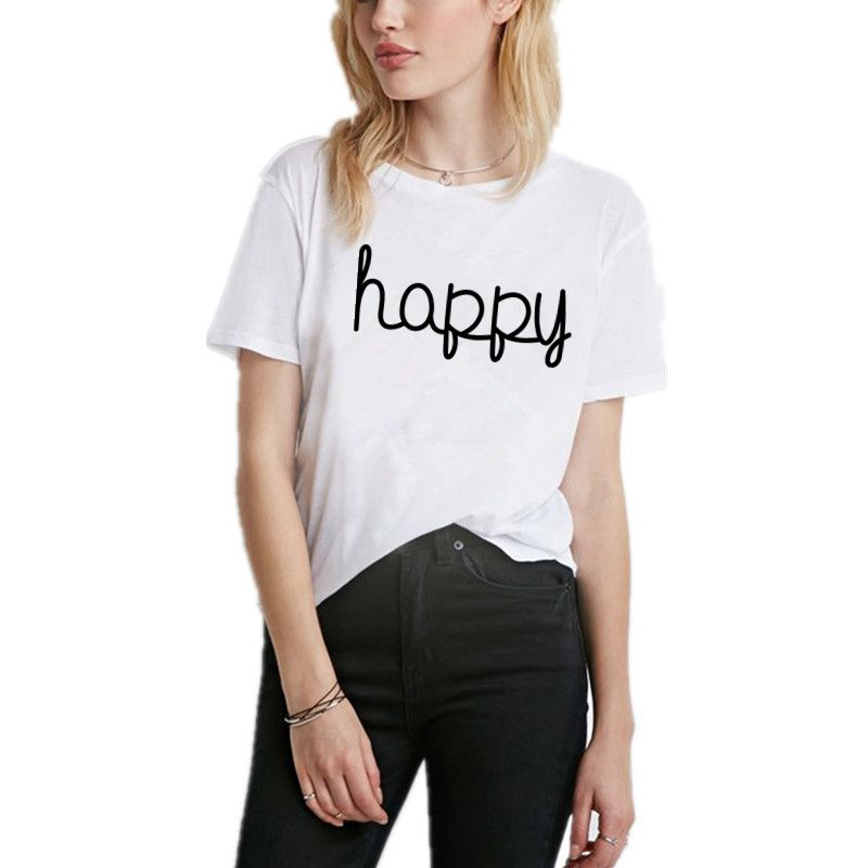 2017 Newest Fashion Letter Printed Women Summer T Shirt Solid Short Sleeve Cotton Top Tees