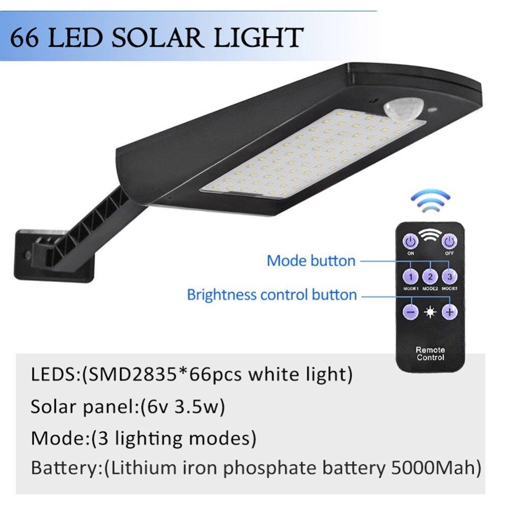 1000LM 66 LED Solar Light Sensor de