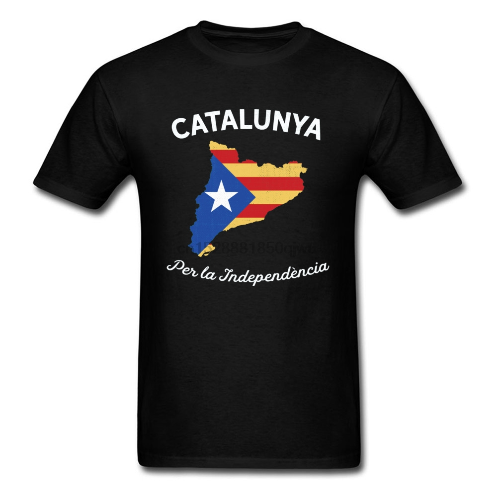 Father Tops Shirt Catalunya Per la Independncia Flag Pattern Tshirt For Men Lovers Day 100% Cotton O Neck Mens Tshirts Cheap
