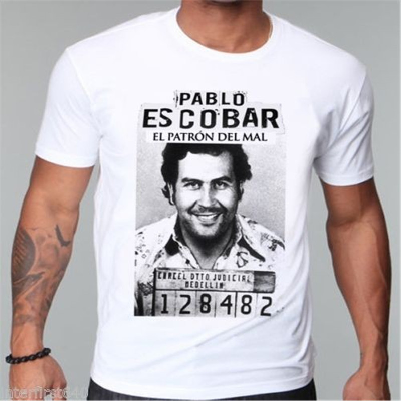 Gangster Pablo escobar t-shirt Colombiaanse weed maffia scareface Luciano Geld Capon tshirt Fashion Cool heren t-shirt