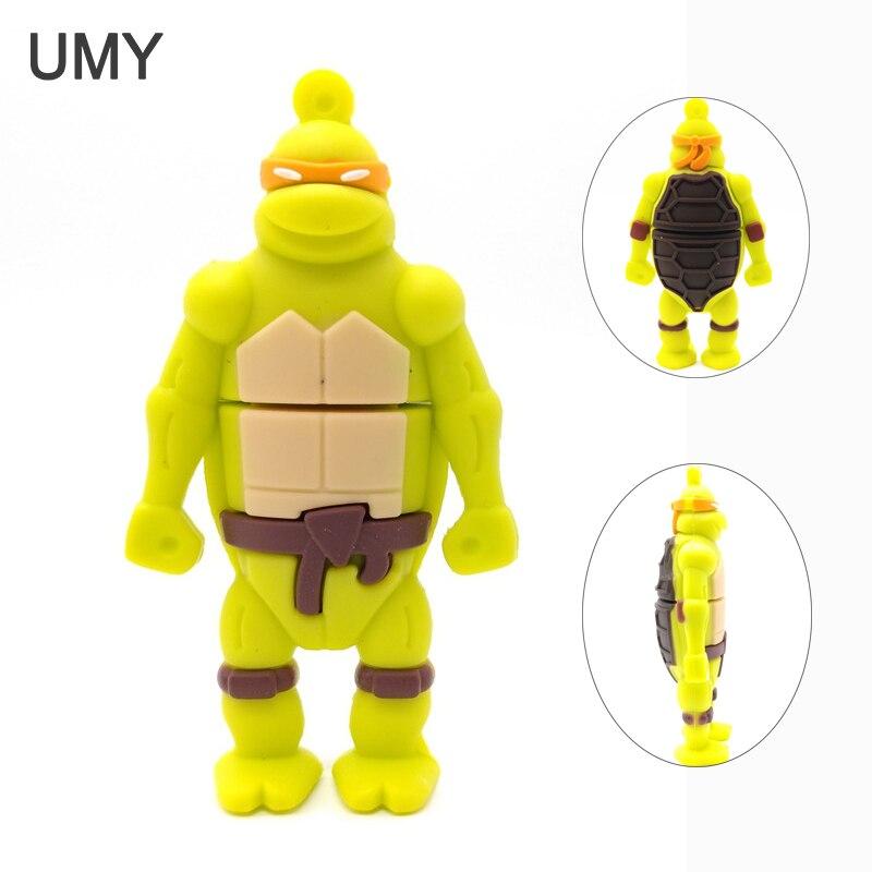 328 Hot Ninja Turtles Usb Flash Drive 4GB 8GB 16GB 32GB Pen Drive Cute Cartoon U Disk Usb 2.0 Real Capacity Pendrive Cle Usb