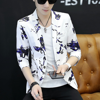 2020 men sleeve leisure suits spring new handsome Cultivate one's morality fashion printing suit young and thin