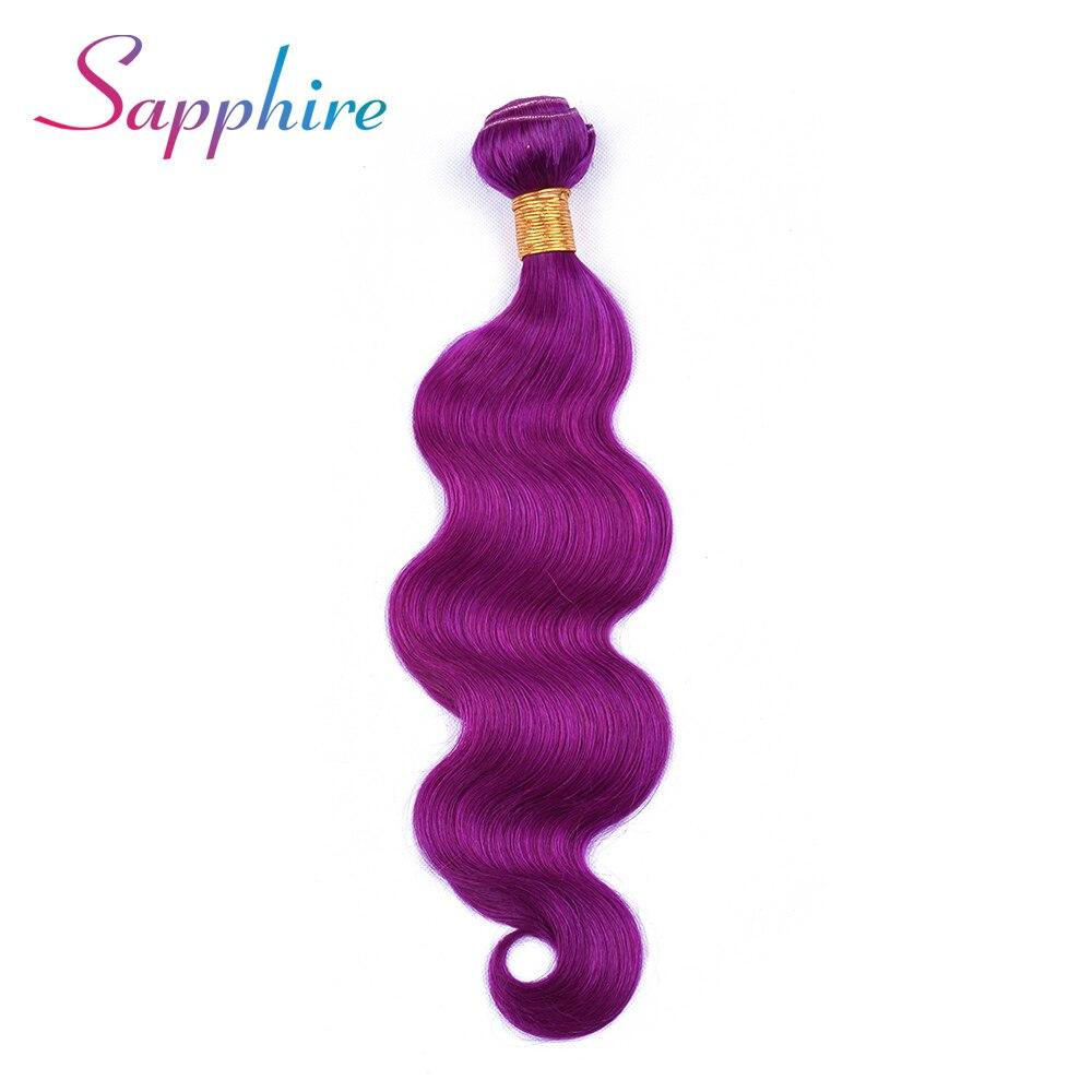 Sapphire Hair Peruvian Human Hair Bundle Body Wave Hair Weave Remy Hair Extensions 8-28inch 1 Piece Purple Color