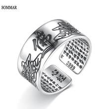 SOMMAR Vintage Amulet Buddha Lotus Baltic Buddhist Scriptures Opening Rings 925 Sterling Silver Jewelry For Women S-R90(China)
